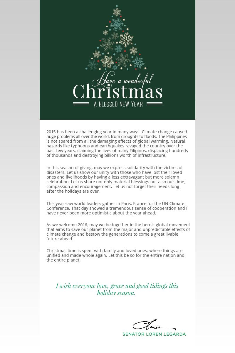 Press Release 2015 Holiday Greetings From Senator Loren Legarda